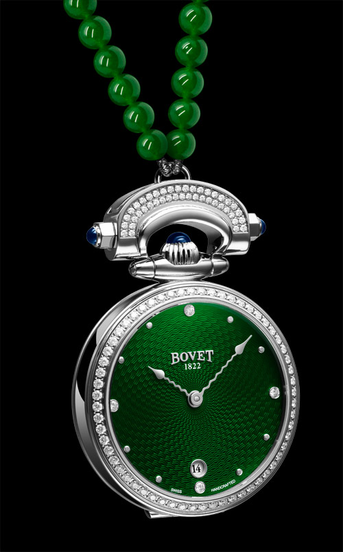 Miss Audrey and Monsieur Bovet in green