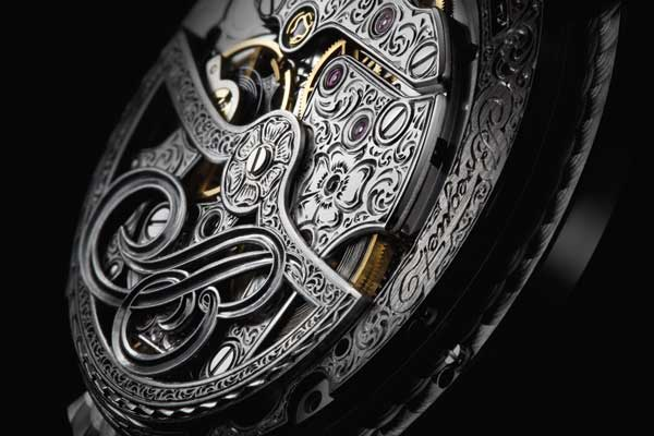 Hand engraving on a Breguet movement