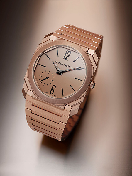 Gold and the Bulgari Octo Finissimo Automatic Sandblasted in gold