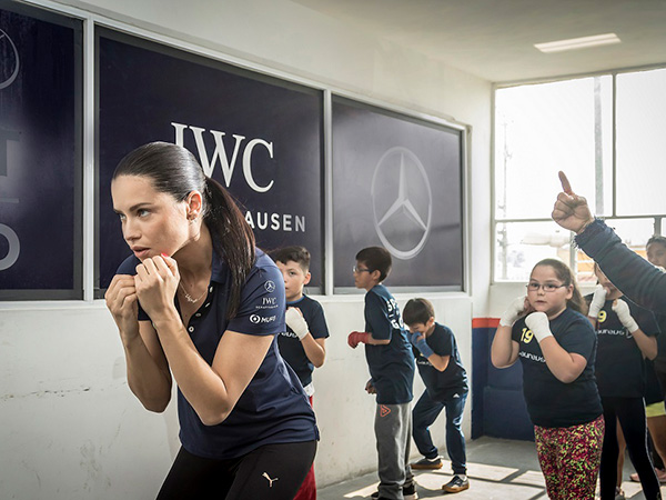 Brazilian supermodel Adriana Lima took part in a boxing session with children in Mexico City