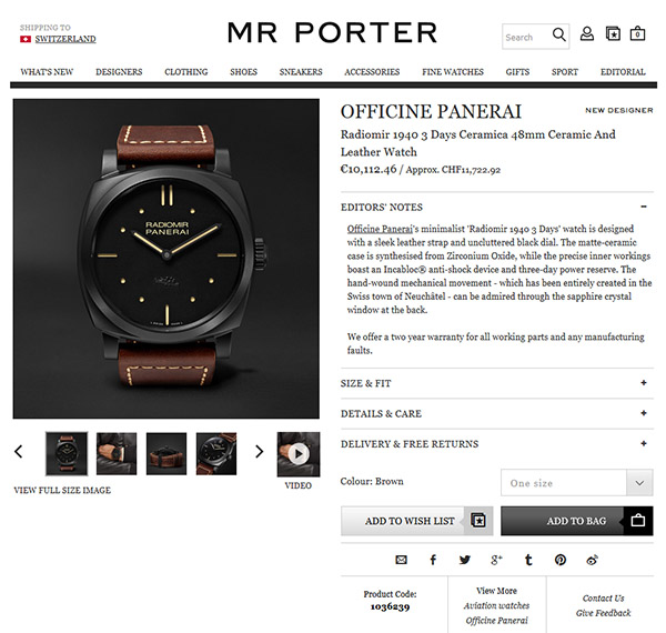 The Italian brand is now on board of Mr Porter
