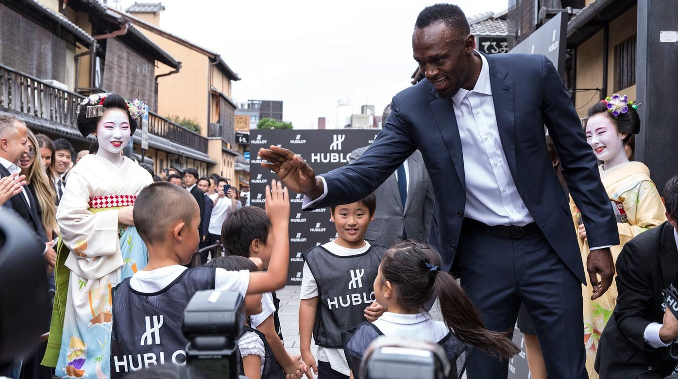 Hublot - Usain Bolt strikes Kyoto charity event with kids