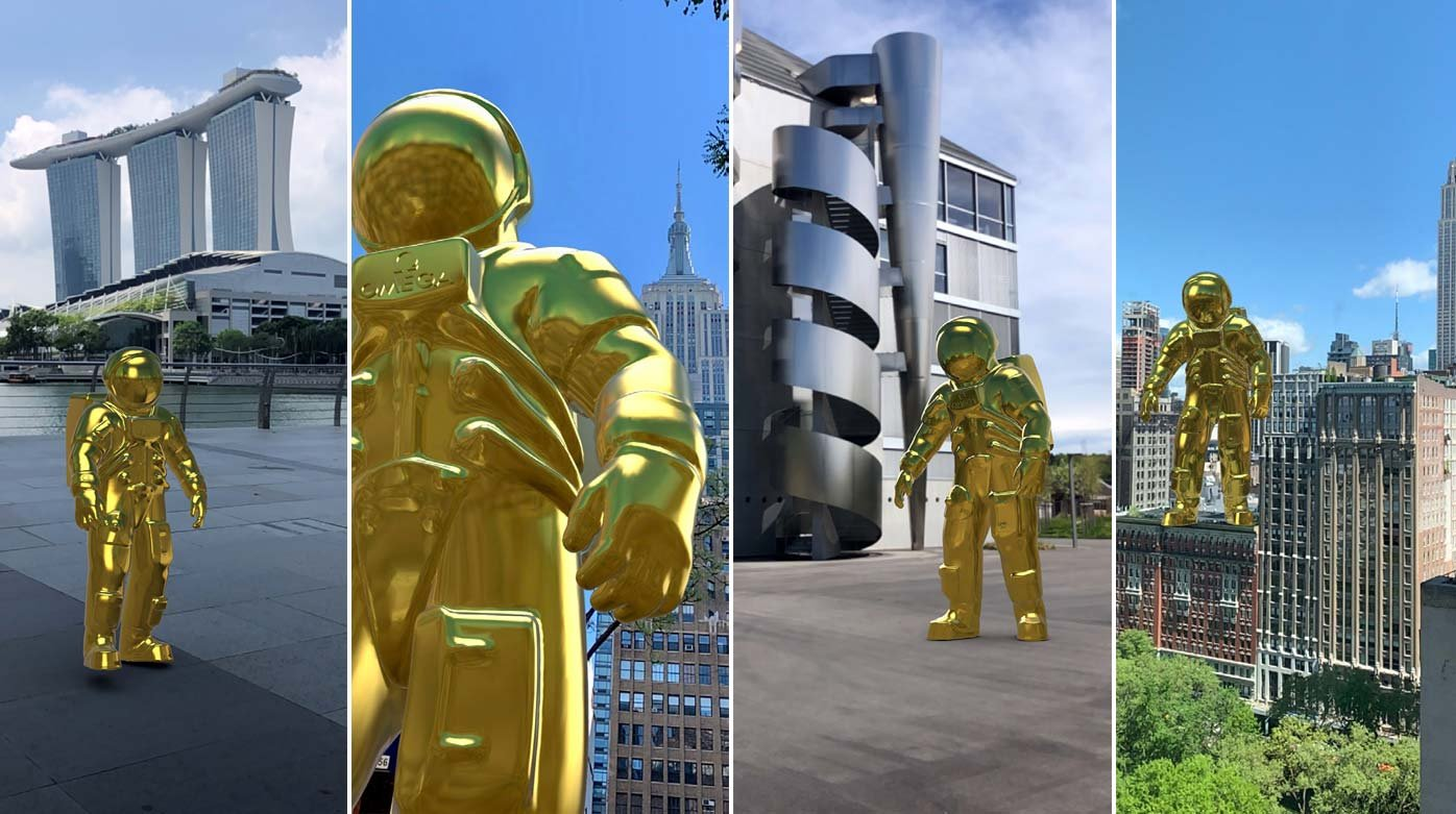 Omega - Golden Astronaut in Augmented Reality
