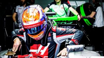 Romain Grosjean and his RM 011 TPT Quartz in Red