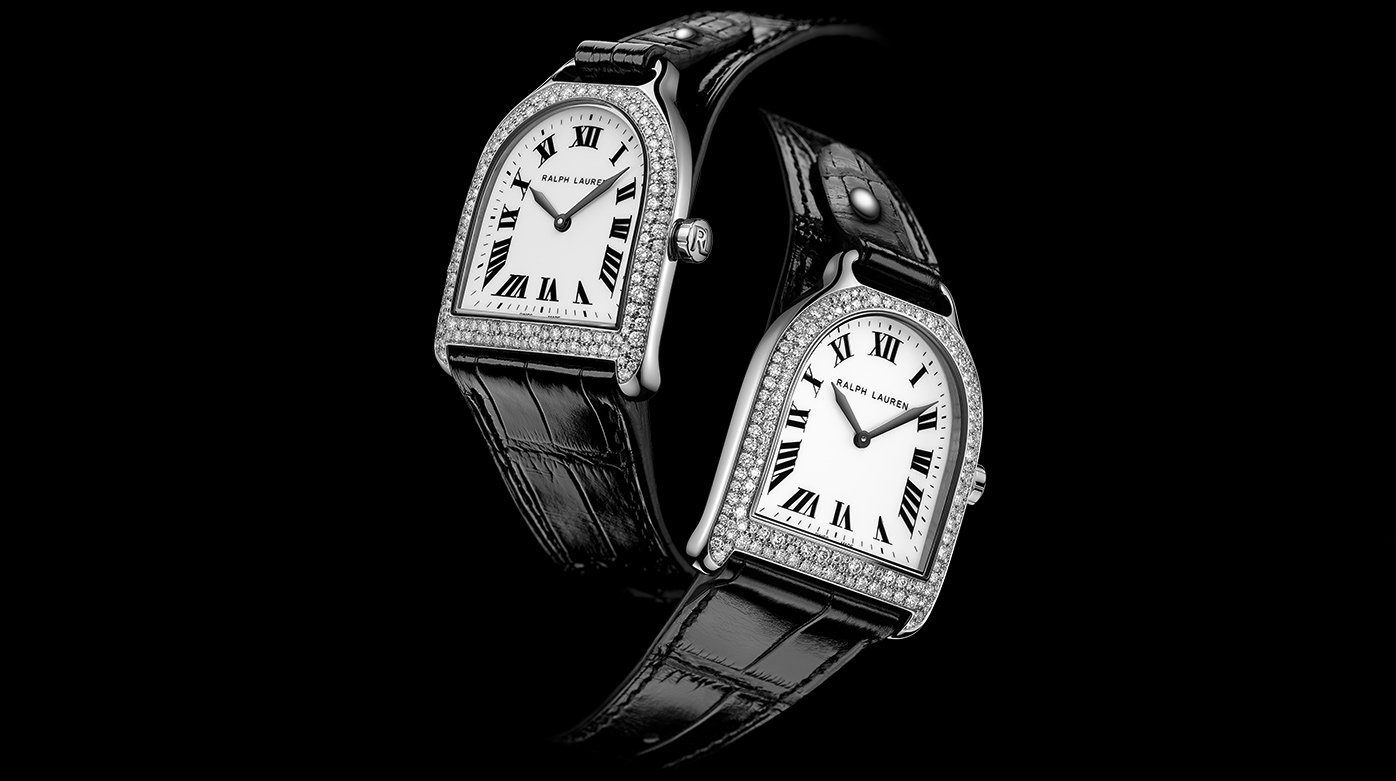 Ralph Lauren - Stirrup Small and Medium in stainless steel and diamonds snow-set