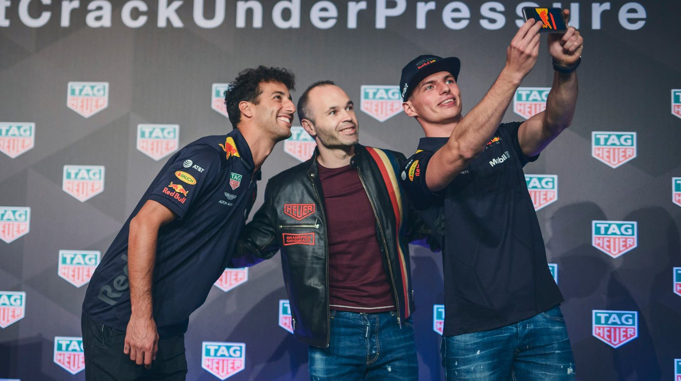TAG Heuer - Andrés Iniesta, Daniel Ricciardo and Max Verstappen reunited for a unique challenge