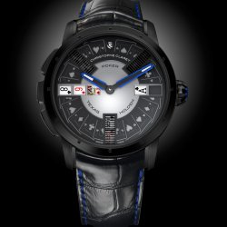 Poker, black PVD-treated grade 5 titanium, with blue spinel cabochon. © Christophe Claret