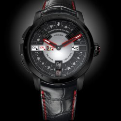 Poker, black PVD-treated grade 5 titanium, with red ruby cabochon. © Christophe Claret
