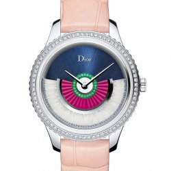 Dior VIII Grand Bal Coquette, 36mm, stainless steel, diamonds, sapphires, tsavorite garnets and feathers