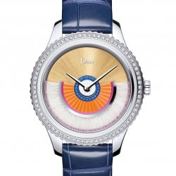 Dior VIII Grand Bal Coquette, 36mm, stainless steel, diamonds, pink sapphires, sapphires and feathers