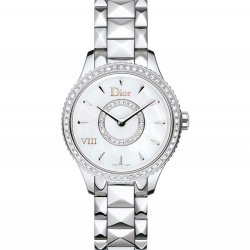 Dior VIII Montaigne, steel, mother-of-pearl, diamonds, diamond-set bezel, 25mm  © Dior
