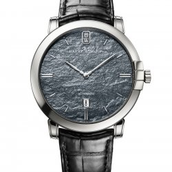 The dial of the  Midnight Monochrome is made of slate. © Harry Winston