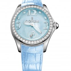Corum Bubble 42, bleue, lunette en acier sertie de 50 diamants