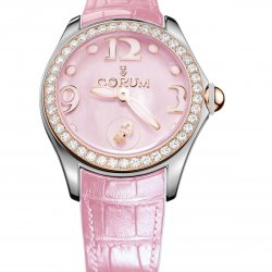 Corum Bubble 42, rose, lunette en or rouge sertie de 50 diamants, couronne en or rouge.