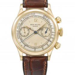 Rare 18k gold split seconds chronograph wristwatch with two-tone pulsation dial and screw back case, ref. 1563 (lot 45)