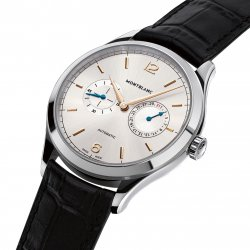 The date may appear through an aperture or be shown by a hand, as in the explicitly named Heritage Chronométrie Date by Hand © Montblanc