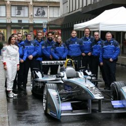 Simona de Silvestro with the Geneva police outside the TAG Heuer store in Geneva
