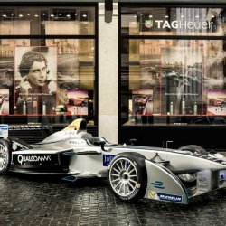 The Formula E car outside the TAG Heuer store