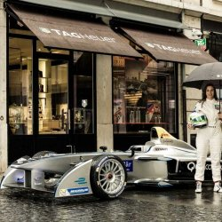 Simona de Silvestro with the Formula E car outside the TAG Heuer store in Geneva
