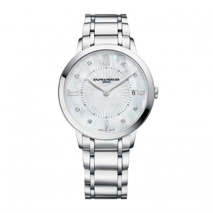 Baume & Mercier Classima Femme Quartz Acier Cadran Serti 8 Diamants 10225 Watch Front View
