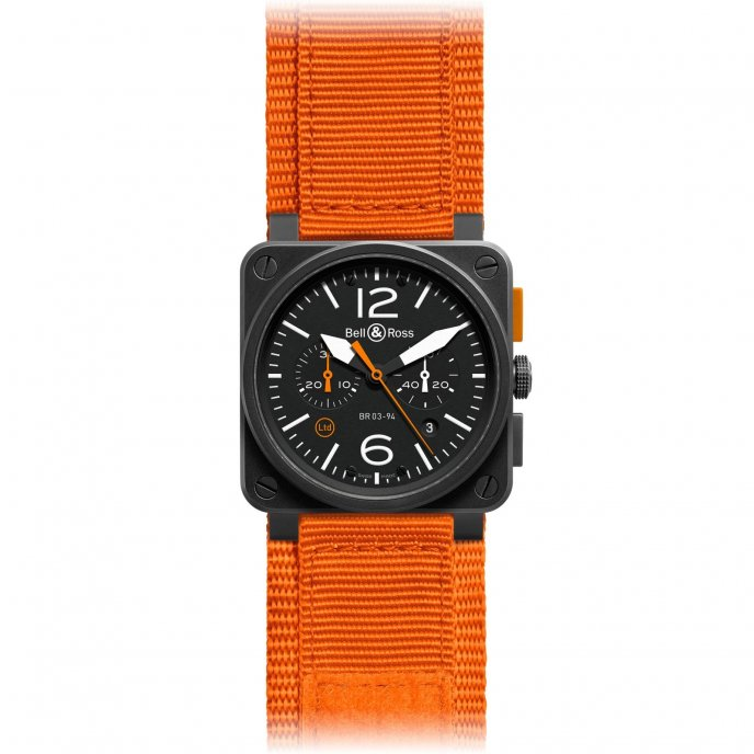 Bell & Ross Aviation BR 03-94 Carbon Orange - watch dial close up view