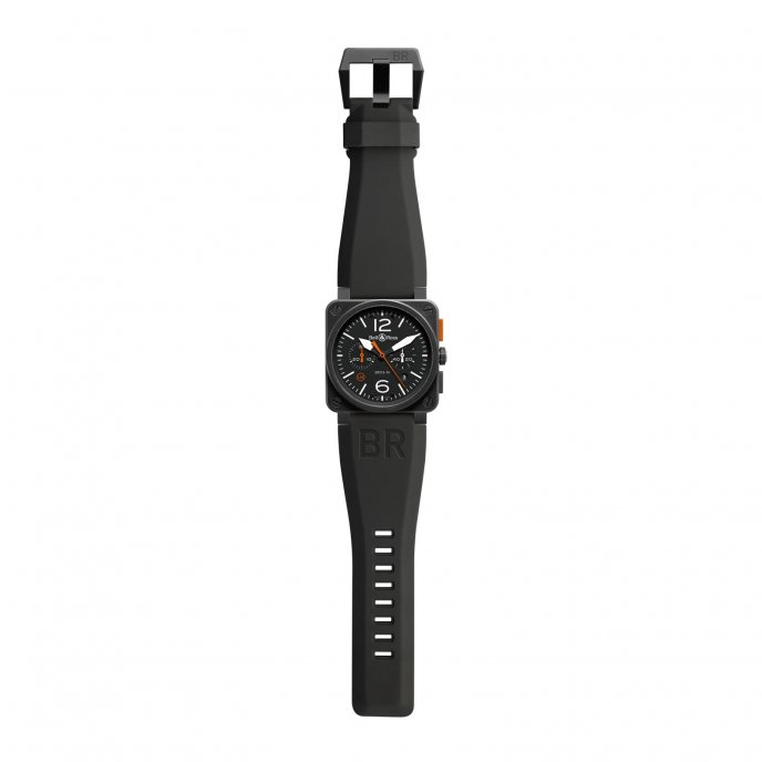 Bell and Ross br03-94 Carbon Orange Black Rubber Strap Watch-face-view