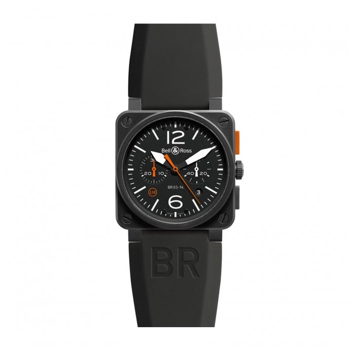 Bell and Ross br03-94 Carbon Orange Watch-face-view