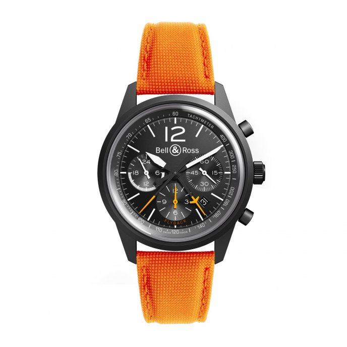 Bell & Ross BR 126 Flyback orange canvas - watch face view