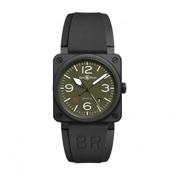 Bell & Ross BR03-92 Ceramic Military type BR03-92-MIL-CE watch face view