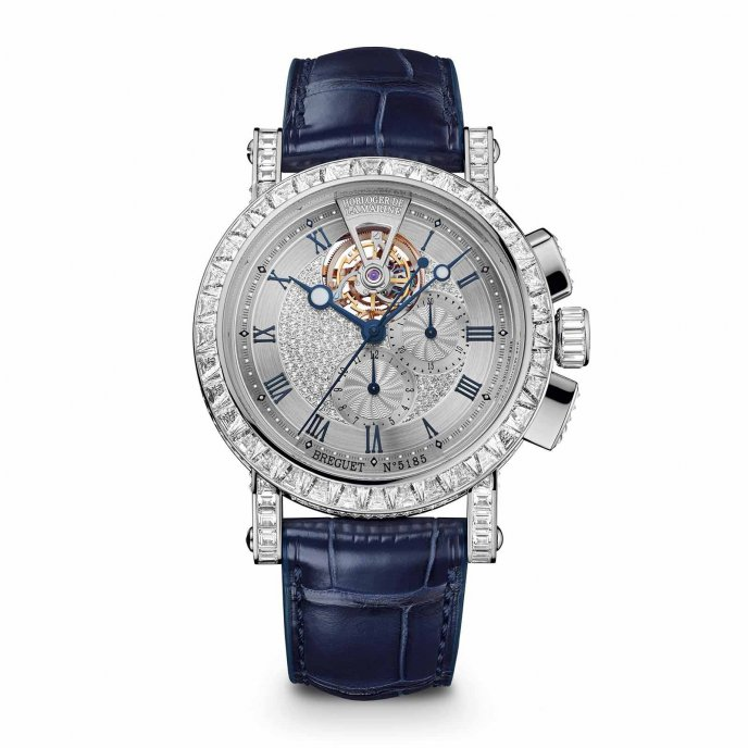Breguet Marine Chronographe Tourbillon Haute Joaillerie 5839BB/6D/9ZU DD0D watch face view