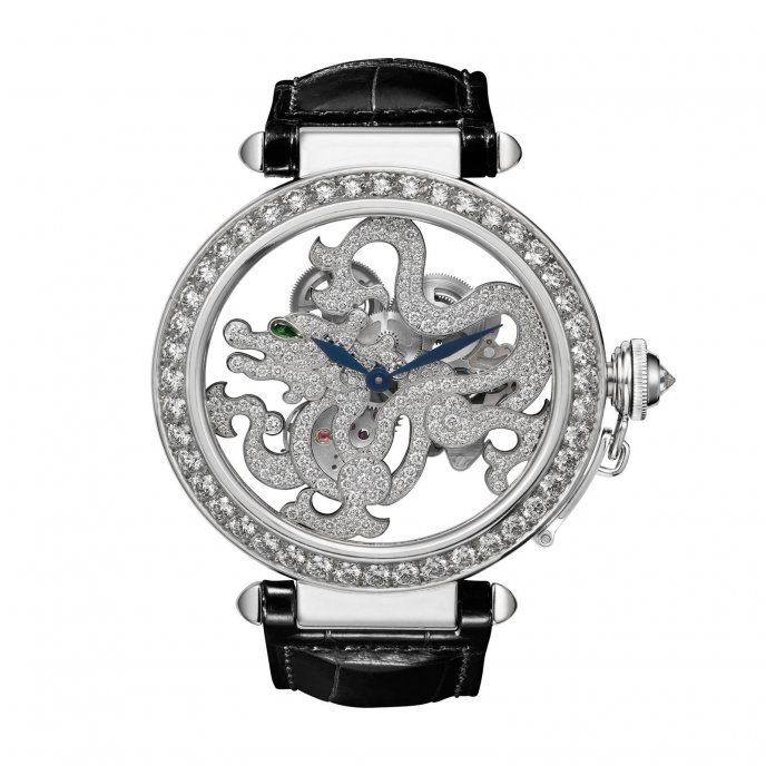 Cartier Pasha Squelette Dragon Motif alligator watch face view