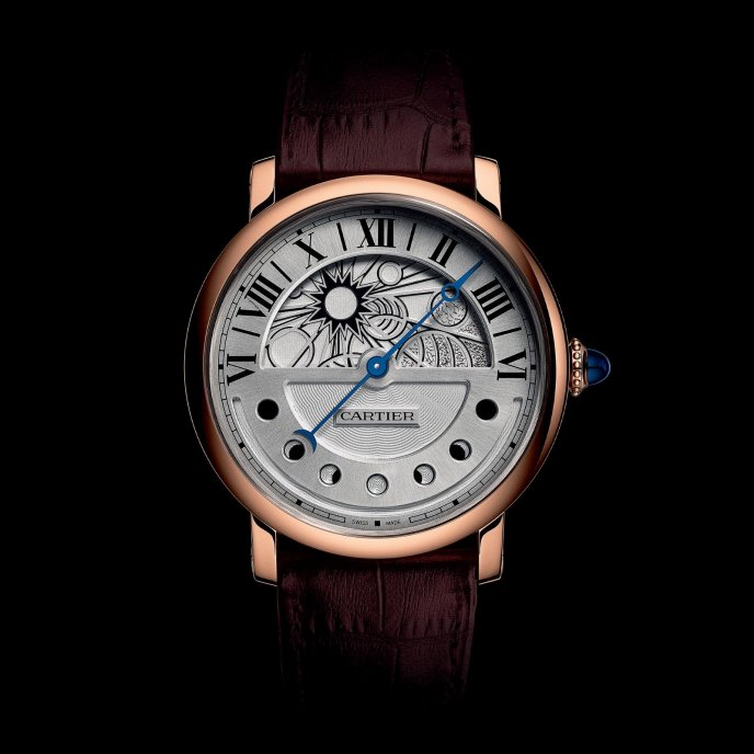 Cartier Montre Rotonde de Cartier Jour et Nuit or rose - watch day face view