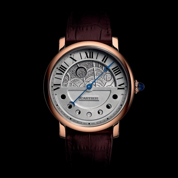 Cartier Montre Rotonde de Cartier Jour et Nuit or rose - watch night face view