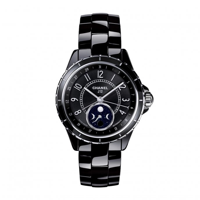 Chanel J12 Moonphase Black High Tech Ceramic - face view