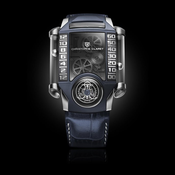 Christophe Claret Montres à Complications Extrêmes X-TREM-1 white gold slate blue PVD titanium watch face view