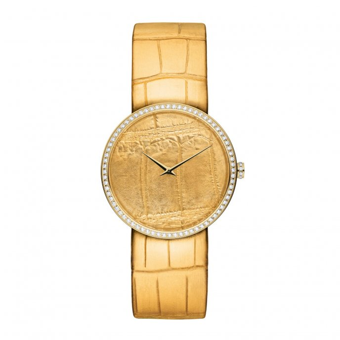 Dior D de Dior Alligator Or Jaune Watch-face-view
