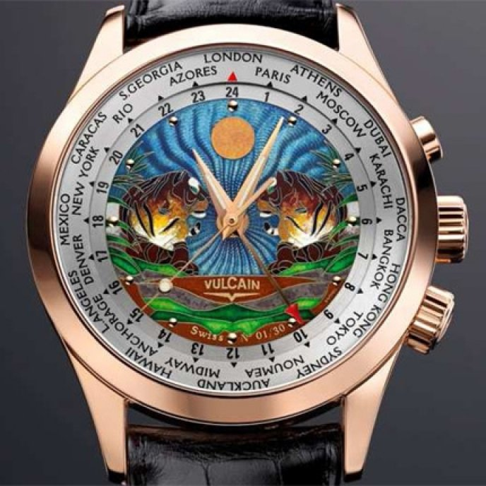 """Vulcain - Aviator GMT Email Cloisonné """"The Tigers"""""""