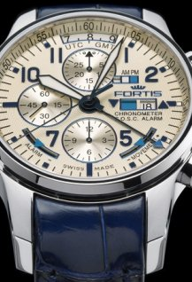 FORTIS F-43 FLIEGER CHRONOGRAPH ALARM GMT certified Chronometer