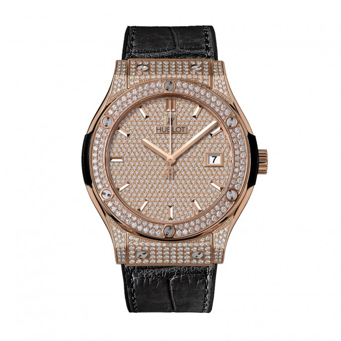 Hublot-Classic Fusion-King Gold Full Pavé 42mm-542.OX.9010.LR.1704