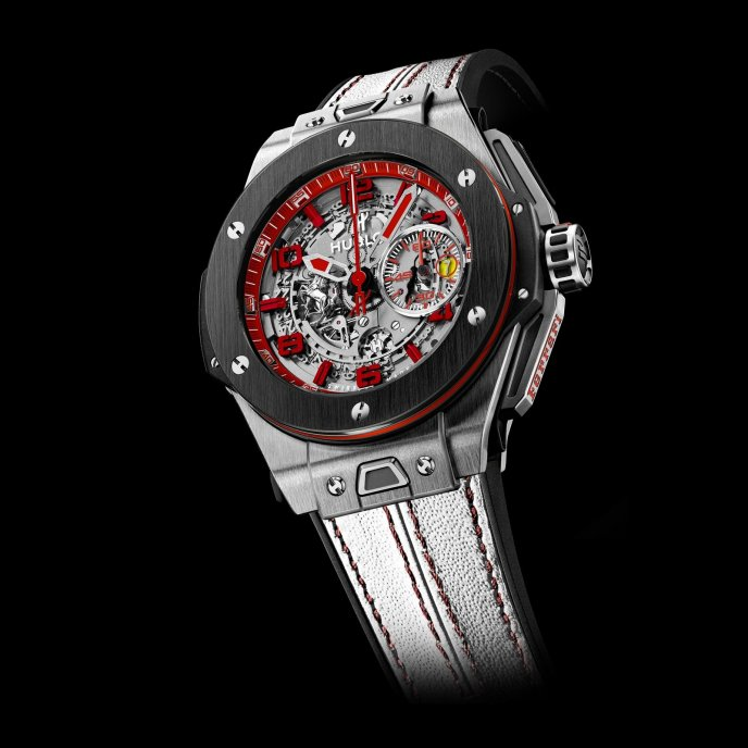 Hublot Big Bang Ferrari UK 401.NM.0123.VR.ENG13 - face view - white strap