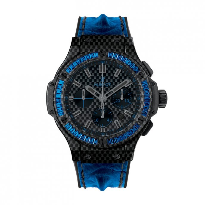 Hublot-Big Bang-Carbon- Bezel Baguette- Blue Sapphires-301.QX.1790.HR.1901
