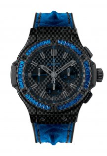 Carbon Bezel Baguette Blue Sapphires