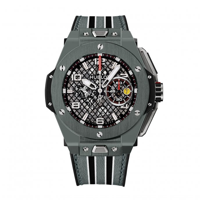Hublot Big Bang Ferrari Grey Ceramic 401.FX.1123.VR watch face view