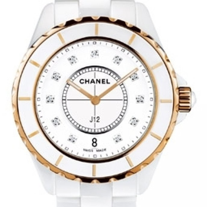 Chanel - J12 Céramique blanche et or rose, cadran 11 index diamants