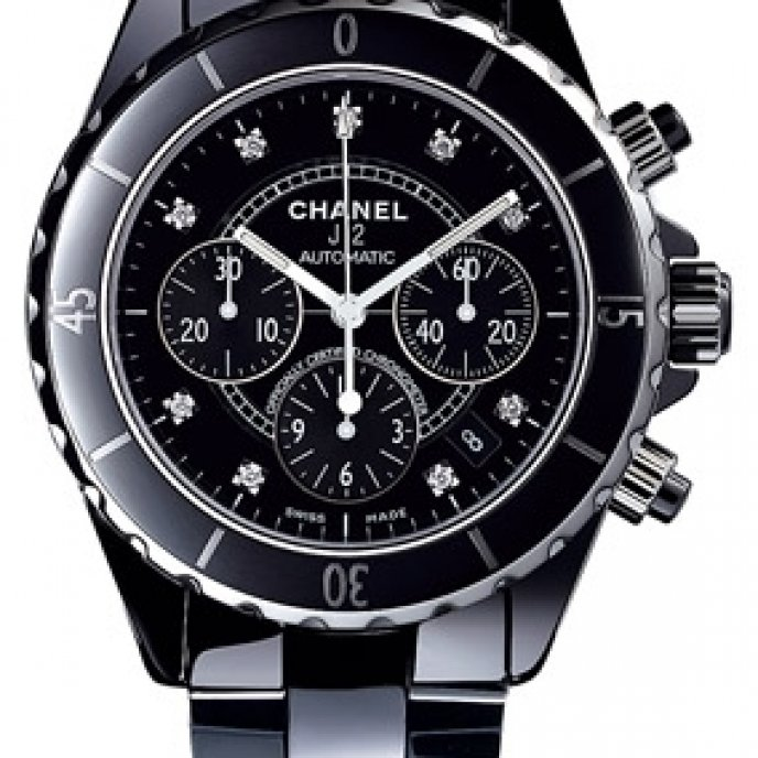 Chanel - Chrono céramique noire, cadran 9 index diamants