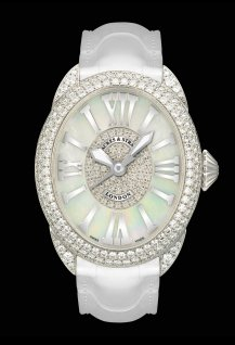 Regent 3238 White Gold - Two Rows - Mother of Pearl & Interior Set Dial