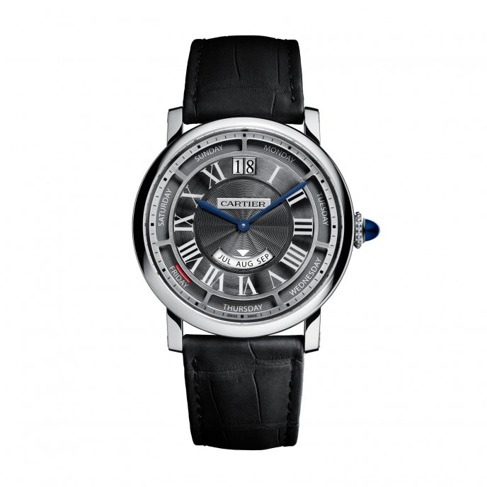 Rotonde de Cartier Annual Calendar Watch White Gold watch face view