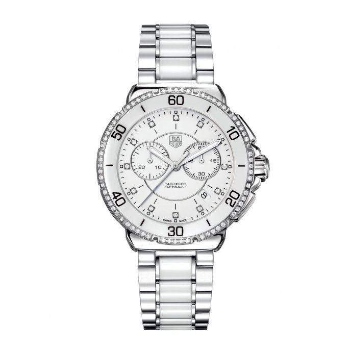 Tag Heuer Formula 1 Chronographe Diamants Acier et Céramique CAH1213.BA0863 watch face view