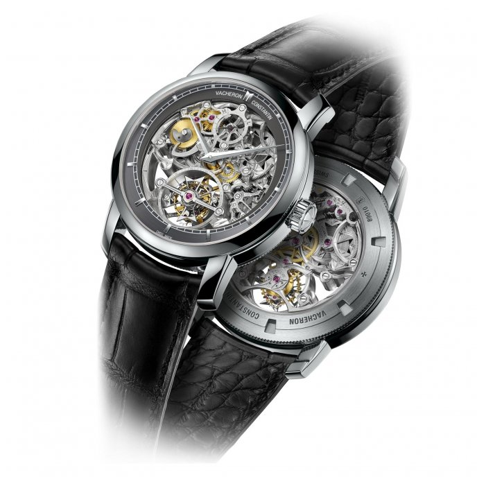 Vacheron Constantin Patrimony Traditionnelle tourbillon 14 jours squelette 89010/000P-9935 - watch face and back view