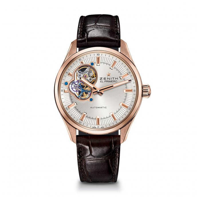 Zenith El Primero Synopsis Or Rose Alligator Strap Watch-face-view